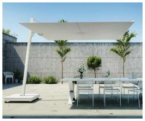 Spectra UX parasol déporté  ǀ  Architecture ǀ  3 m carré ǀ  toile en Sunbrella Marble