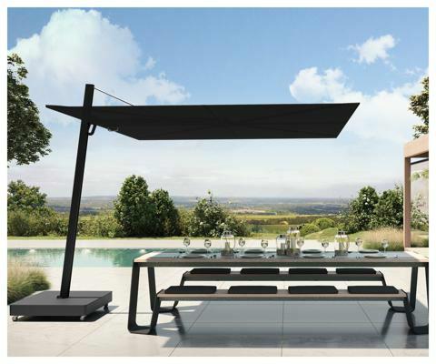Spectra UX parasol déporté  ǀ  Architecture Full Black ǀ  3 m carré ǀ  toile en Sunbrella Black