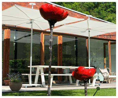 Infina Garten Sonnenschirm ǀ 2,5 m quadratisch ǀ Natural ǀ Alu Gestell