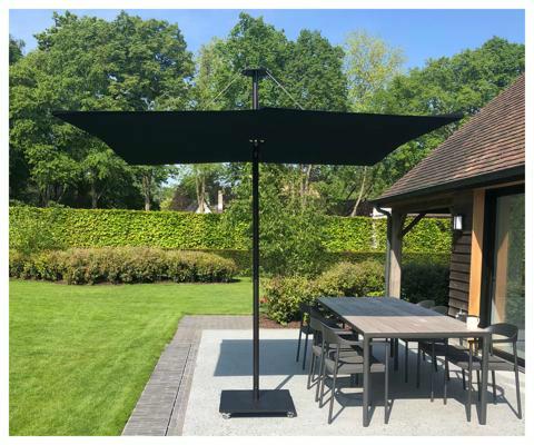 Infina Garten Sonnenschirm ǀ 2,5 m quadratisch ǀ Black ǀ Dusk Gestell