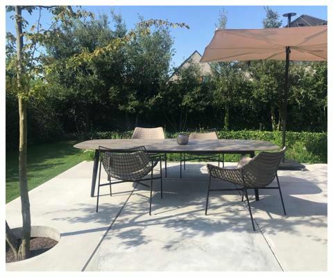 Infina Garten Sonnenschirm ǀ 2,5 m quadratisch ǀ Blush ǀ Dusk Gestell