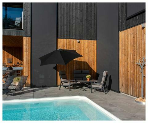 Ombrellone a muro Paraflex ǀ Rotondo ǀ 2,7 m ǀ Black ǀ Sostegno Classico