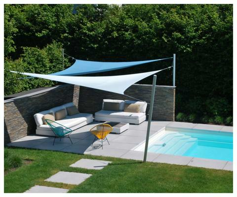 Umbrosa Ingenua shade sails ǀ Triangle ǀ 6 x 5 x 4 m ǀ Natural & Adriatic