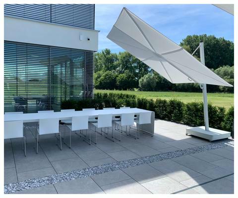 Umbrosa Spectra UX Architecture ǀ Sunbrella Marbleǀ 3 x 3 m ǀ frame powder coated White RAL 9018