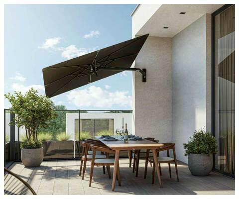Ombrellone a muro Paraflex UX ǀ Cuadrato ǀ 2,3 m ǀ Black ǀ Sostegno Neo