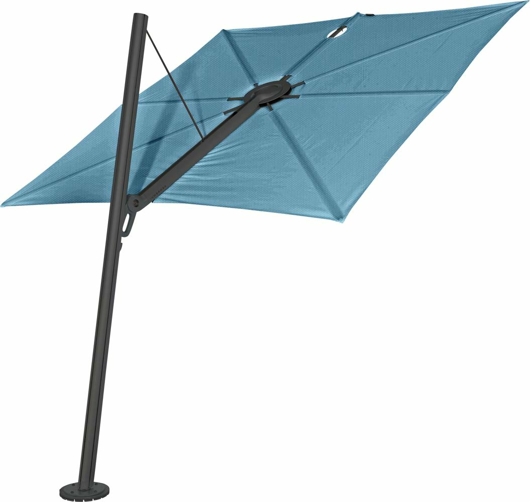 Spectra cantilever umbrella, forward (80°), 250 x 250 square, with frame in Dusk (15 cm) and Solidum Adriatic canopy.