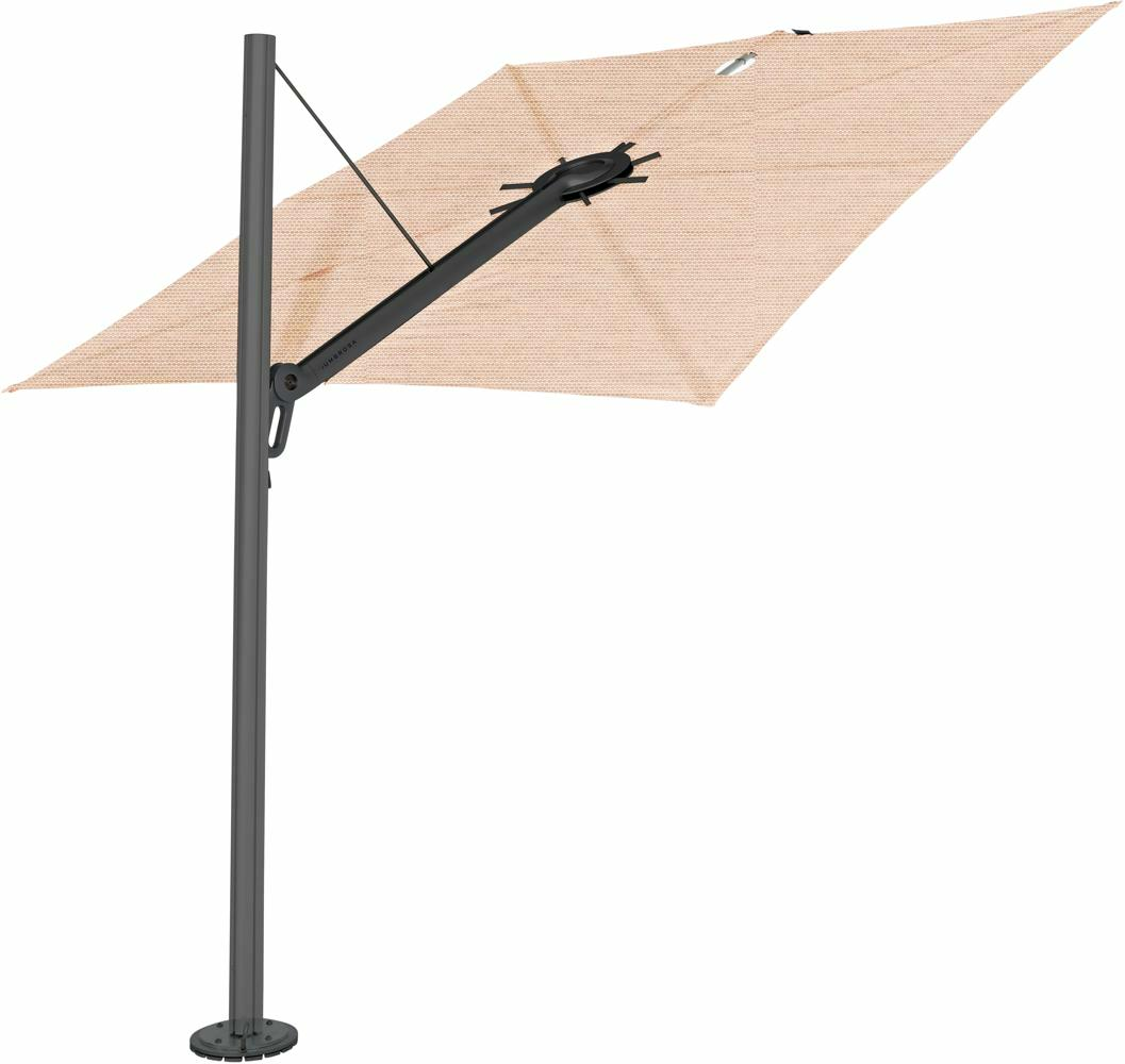 Spectra cantilever umbrella, straight (90°), 300 x 300 square, with frame in Dusk (15 cm) and Solidum Blush canopy.