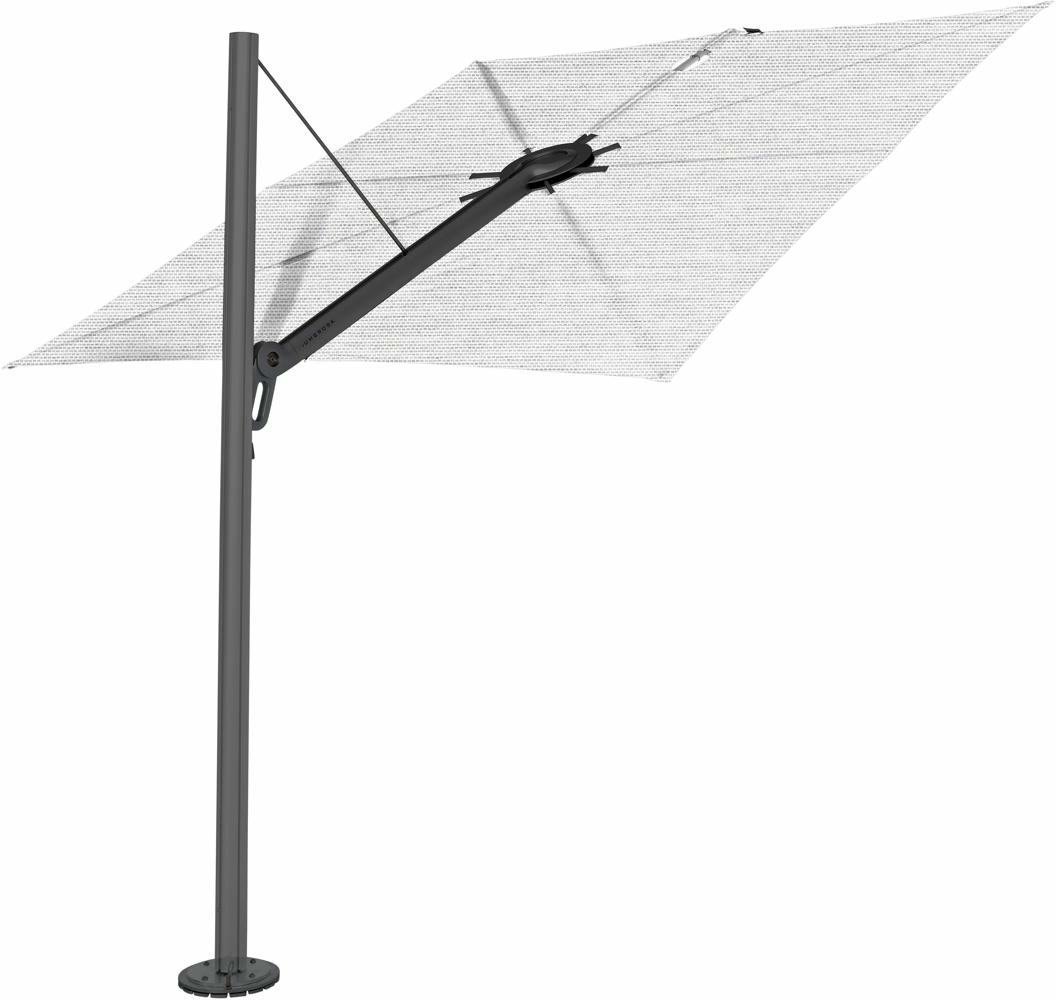 Spectra cantilever umbrella, straight (90°), 300 x 300 square, with frame in Dusk (15 cm) and Solidum Marble canopy.