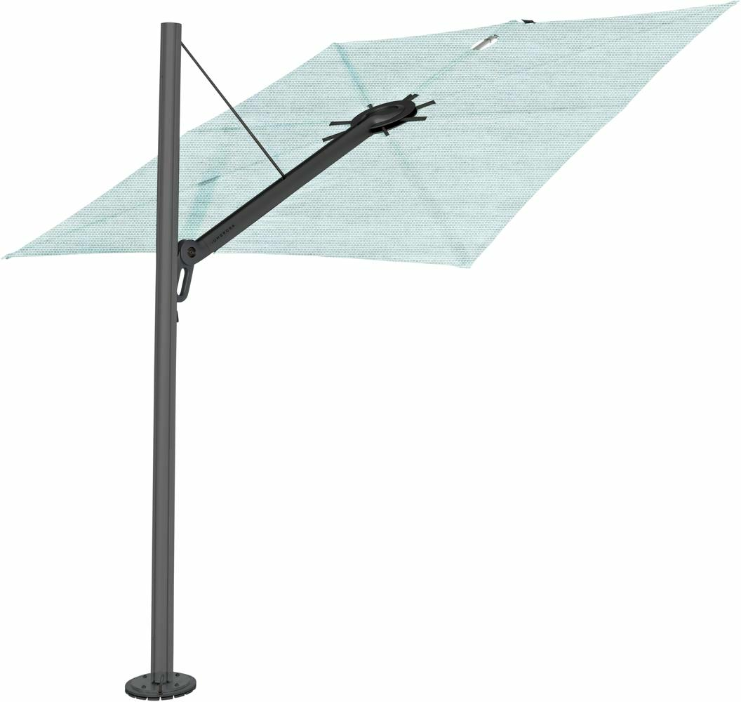 Spectra cantilever umbrella, straight (90°), 300 x 300 square, with frame in Dusk (15 cm) and Solidum Curacao canopy.