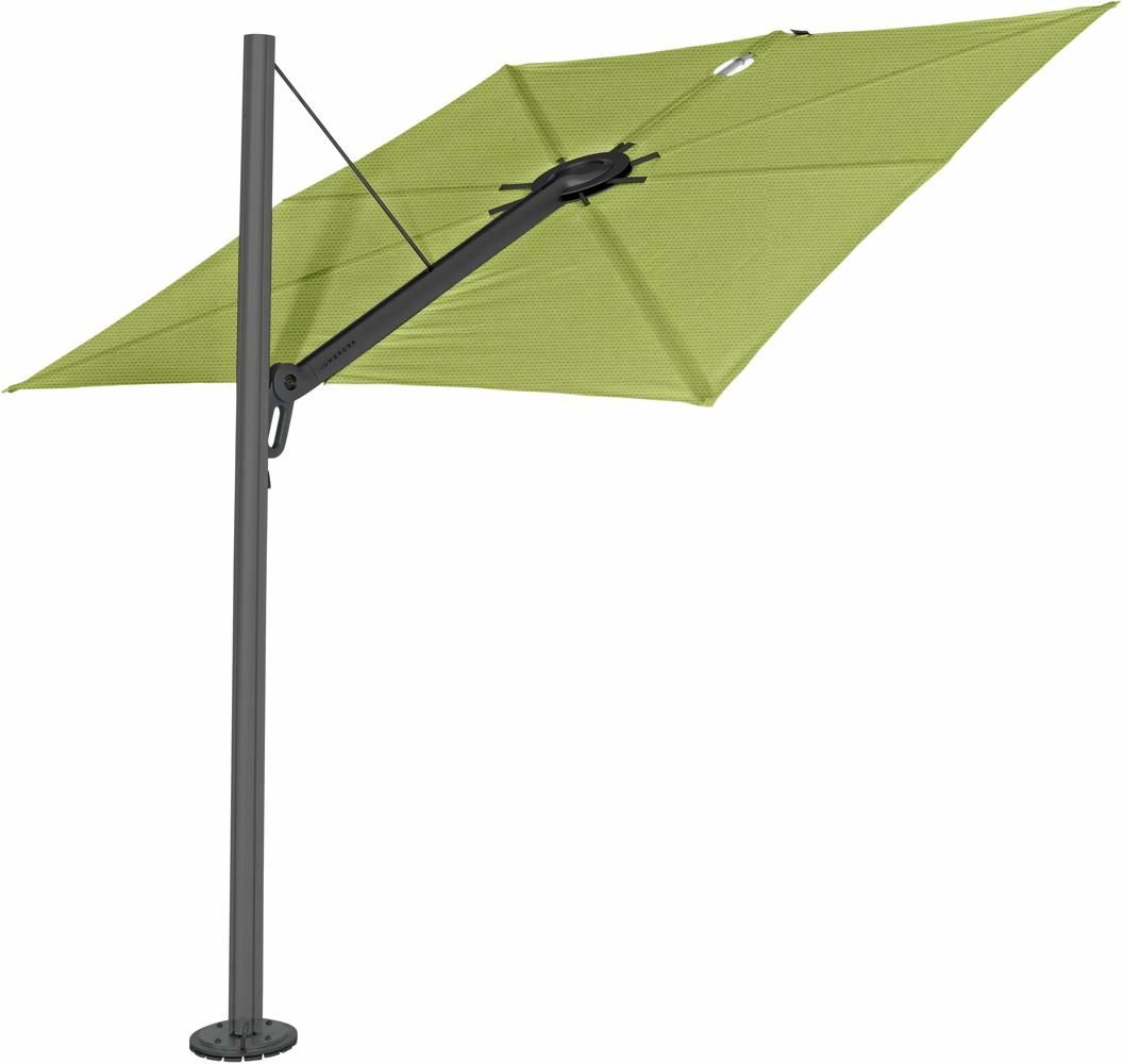 Spectra cantilever umbrella, straight (90°), 300 x 300 square, with frame in Dusk (15 cm) and Solidum Lichen canopy.