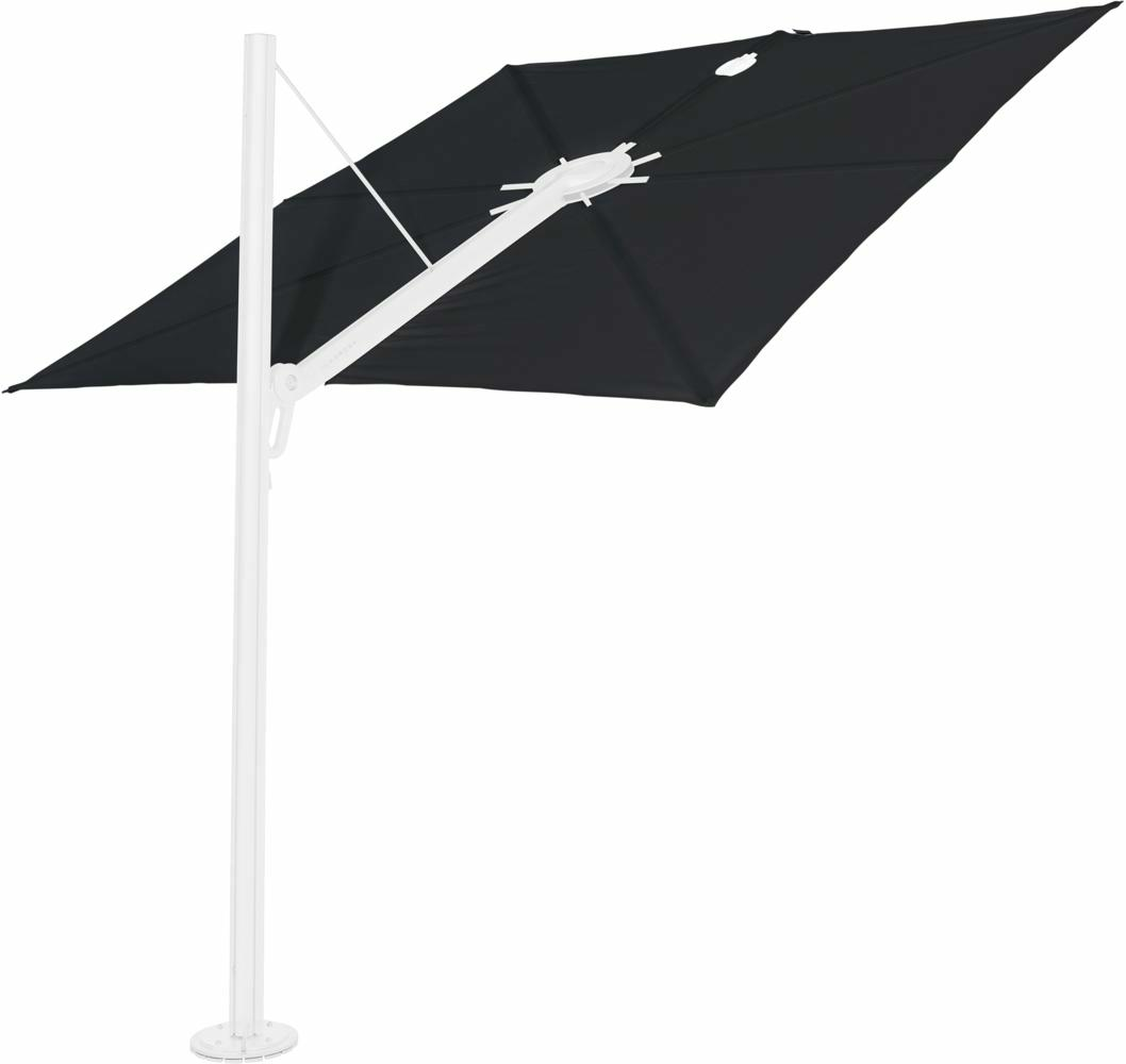 Spectra cantilever umbrella, straight (90°), 300 x 300 square, with frame in White and Solidum Black canopy.