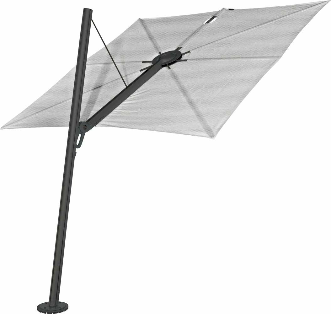Spectra cantilever umbrella, forward (80°), 300 x 300 square, with frame in Dusk (15 cm) and Solidum Marble canopy.