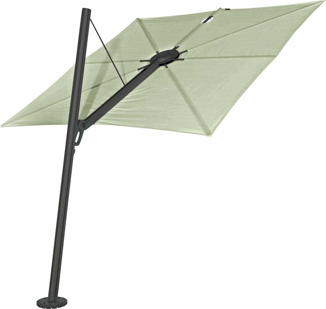 Spectra cantilever umbrella, forward (80°), 300 x 300 square, with frame in Dusk (15 cm) and Solidum Mint canopy.