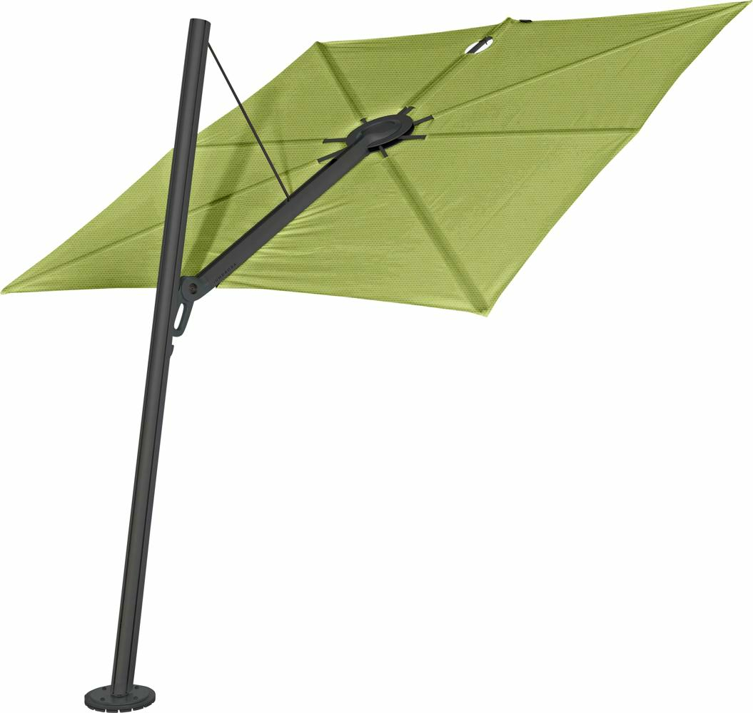 Spectra cantilever umbrella, forward (80°), 300 x 300 square, with frame in Dusk (15 cm) and Solidum Lichen canopy.