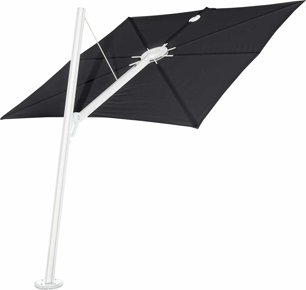 Spectra cantilever umbrella, forward (80°), 300 x 300 square, with frame in White and Solidum Black canopy.