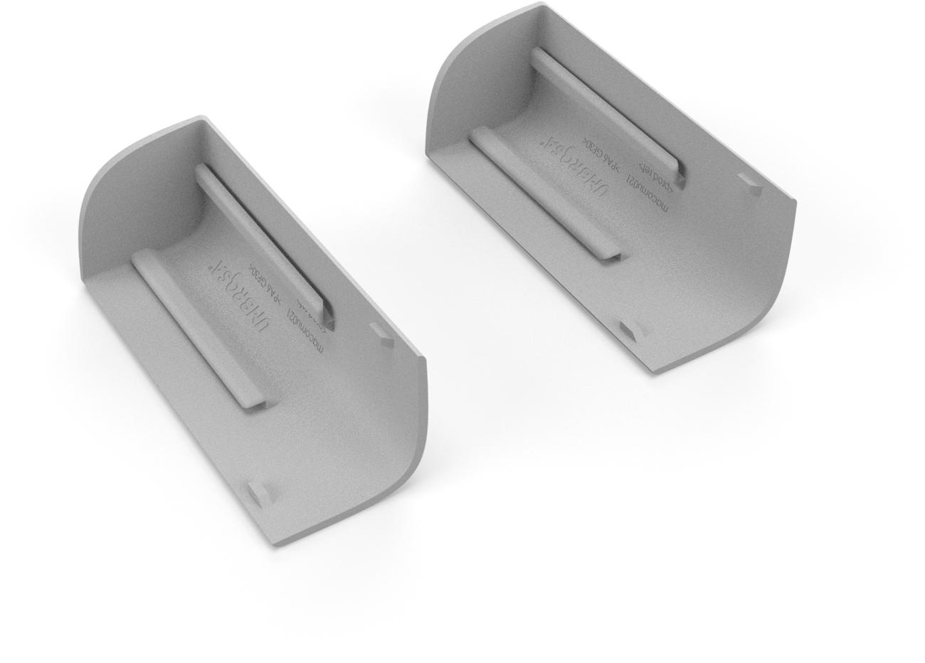 Set of 2 corner pieces for base cover Aluminum