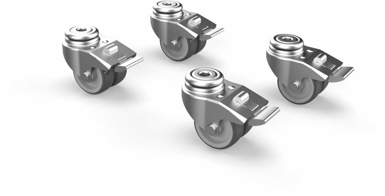 Set von 4 Rollen mit Bremse für Umbrosa Fliessenfuss und Infina Fuss (Produktion bevor 2020)