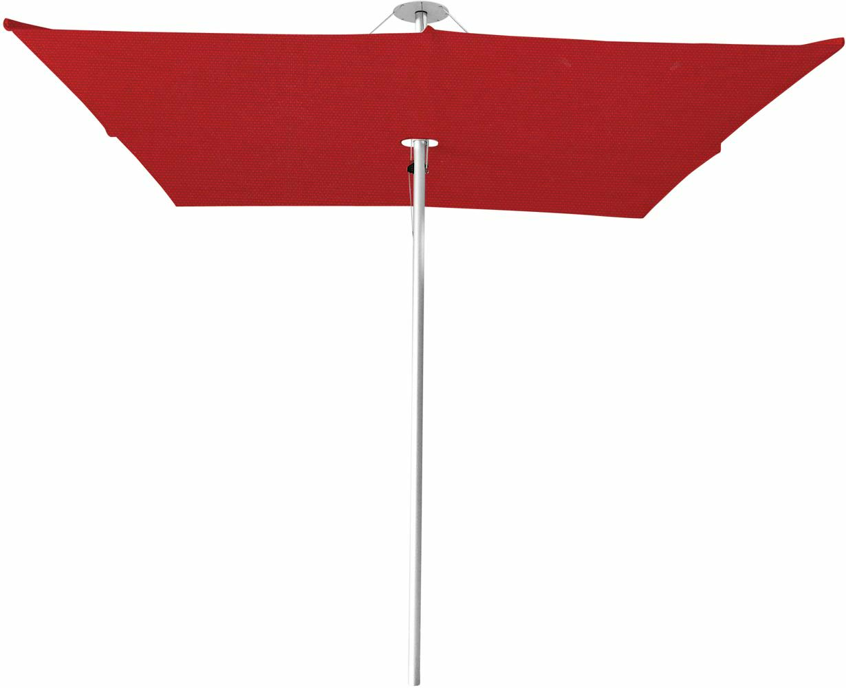 Infina center post umbrella, 3 m square, with frame in Aluminum and Solidum Pepper canopy.