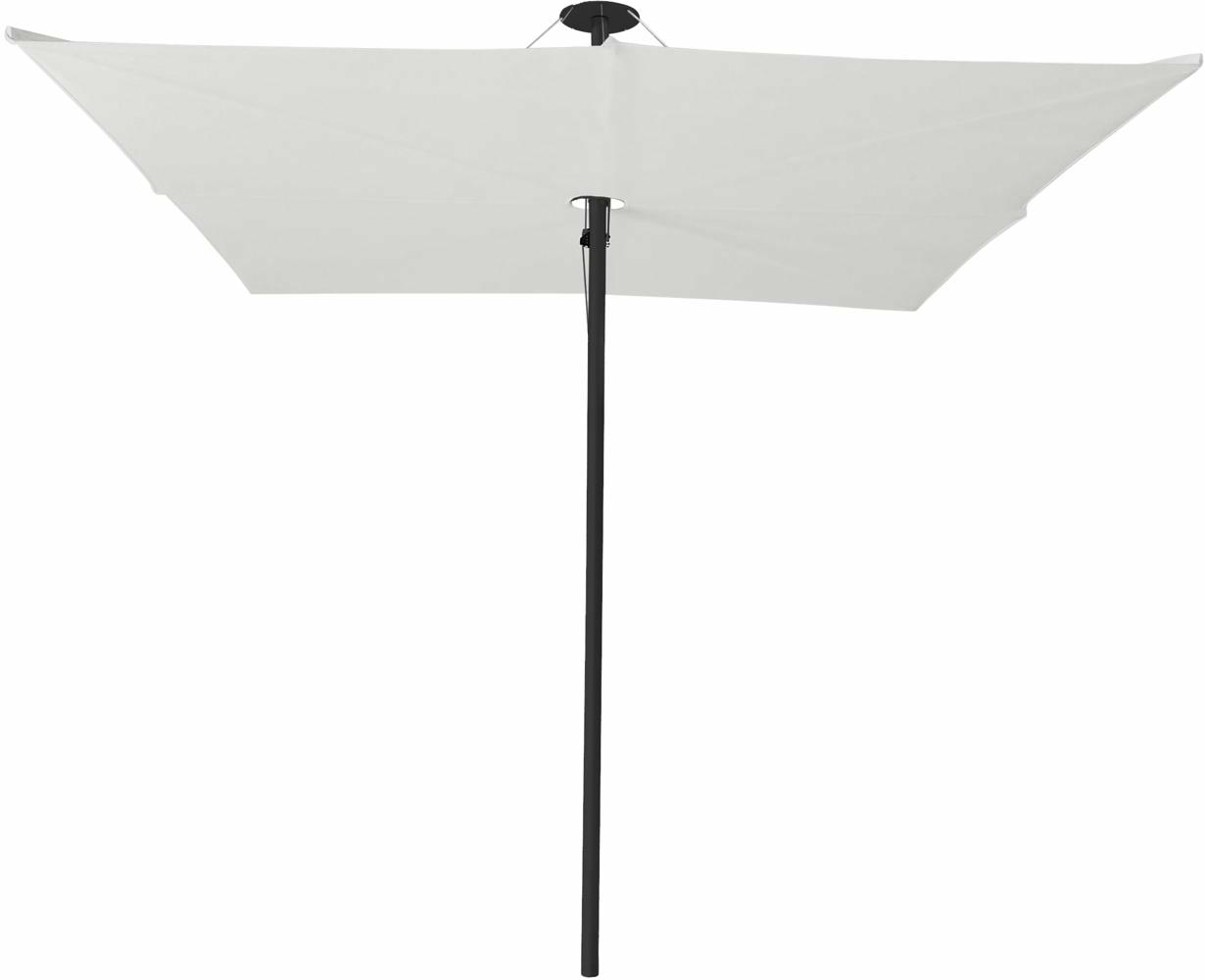 Infina center post umbrella, 3 m square, with frame in Dusk and Solidum Canvas canopy.