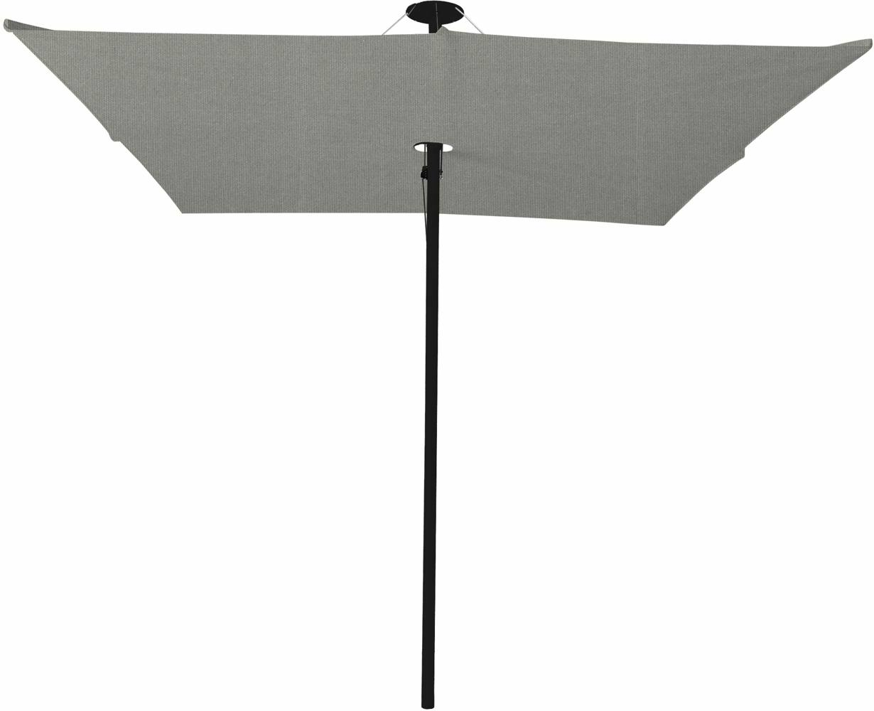 Infina center post umbrella, 3 m square, with frame in Dusk and Solidum Grey canopy.