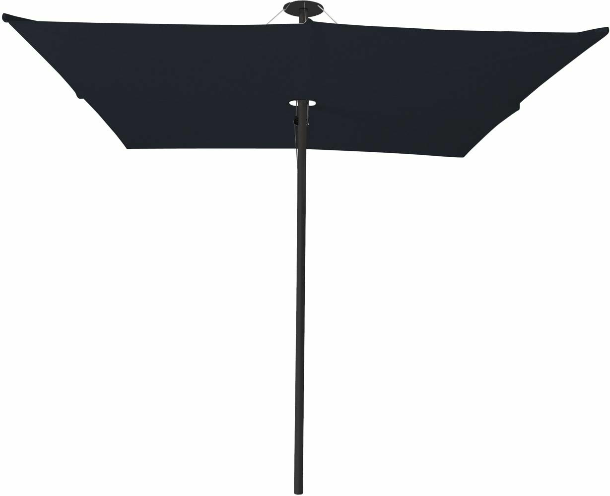 Infina center post umbrella, 3 m square, with frame in Dusk and Solidum Black canopy.