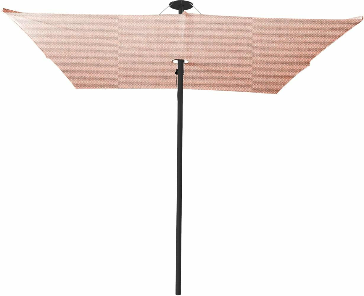 Infina center post umbrella, 3 m square, with frame in Dusk and Solidum Blush canopy.