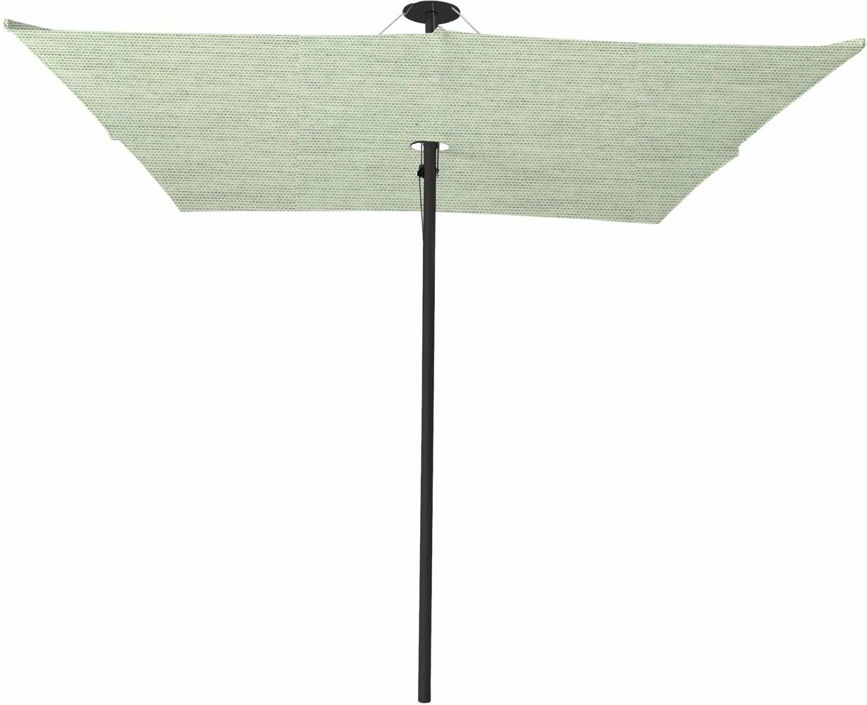 Infina center post umbrella, 3 m square, with frame in Dusk and Solidum Mint canopy.