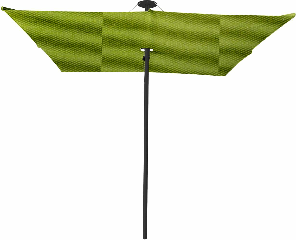 Infina center post umbrella, 3 m square, with frame in Dusk and Solidum Lichen canopy.