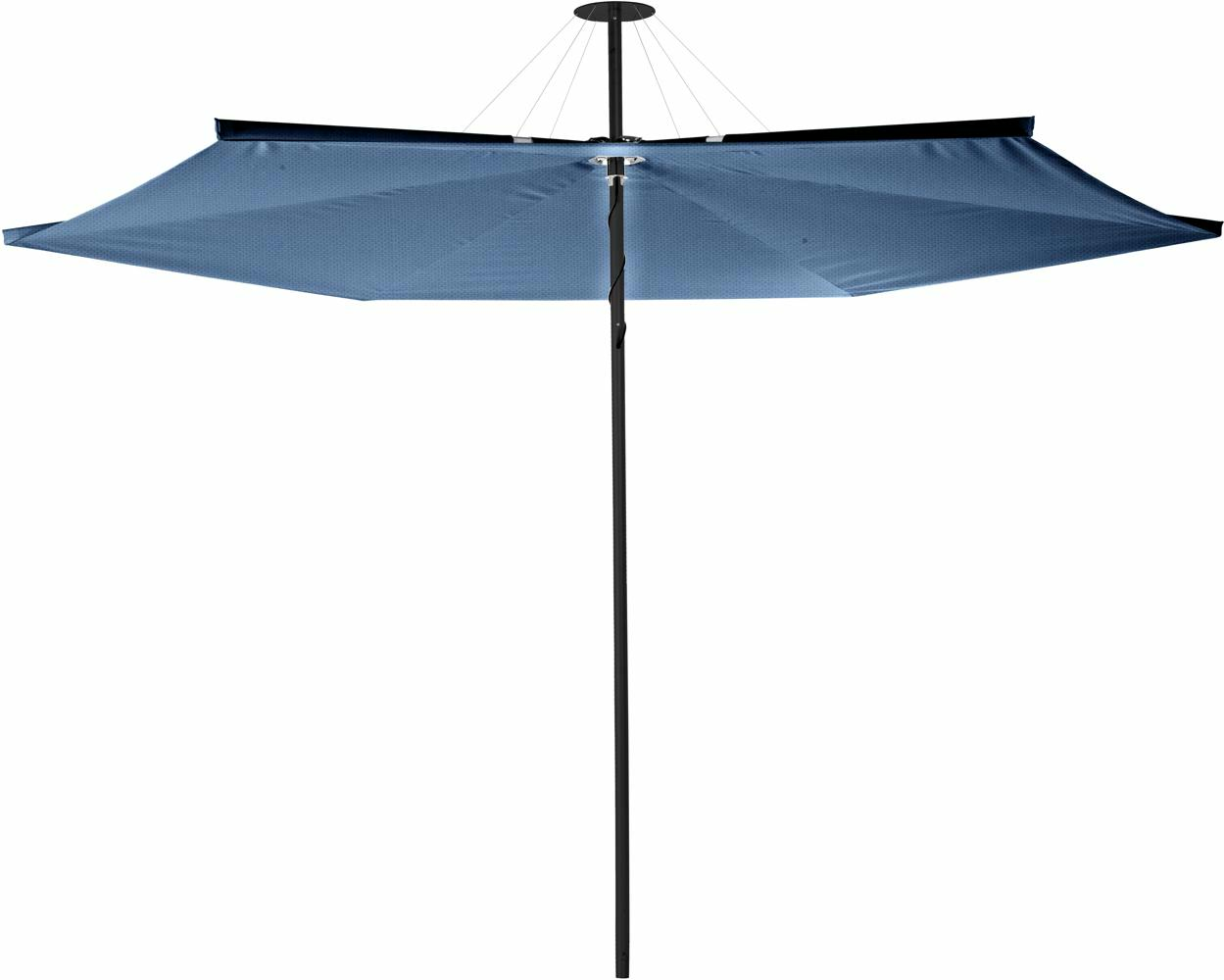 Infina center post umbrella, 3 m round, with frame in Dusk and Solidum BlueStorm canopy.