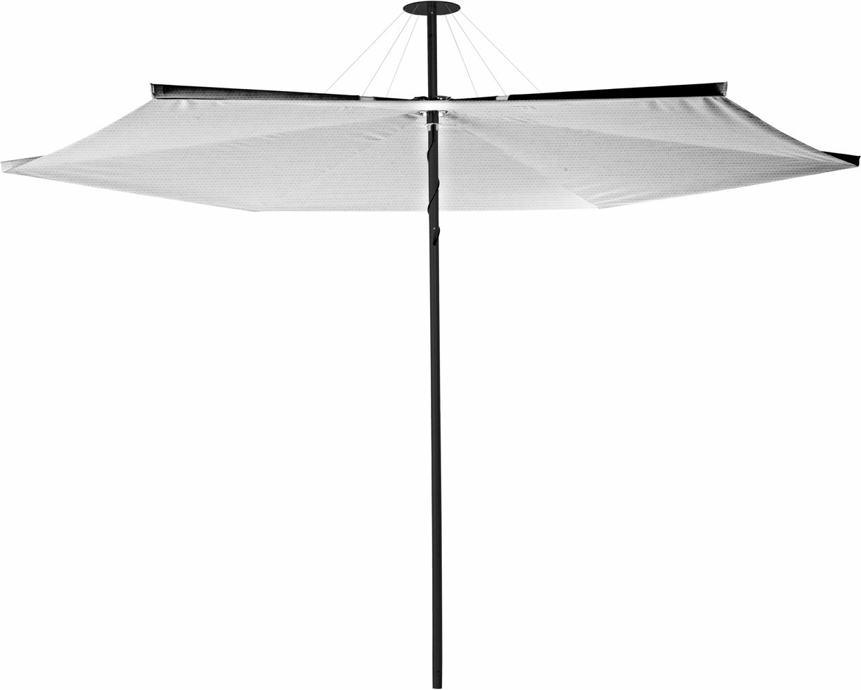 Infina center post umbrella, 3 m round, with frame in Dusk and Solidum Marble canopy.