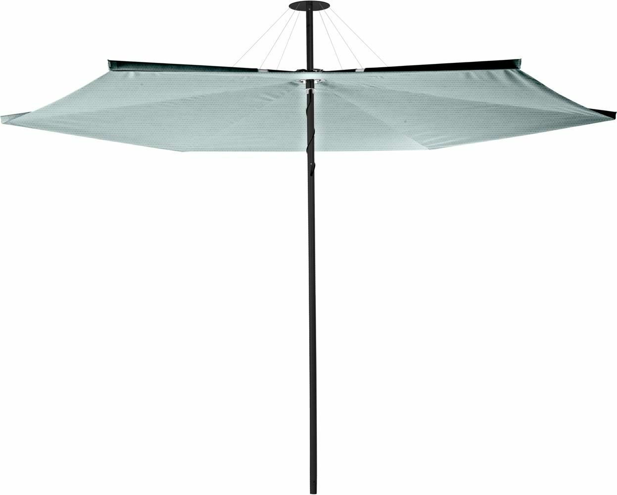 Infina center post umbrella, 3 m round, with frame in Dusk and Solidum Curacao canopy.