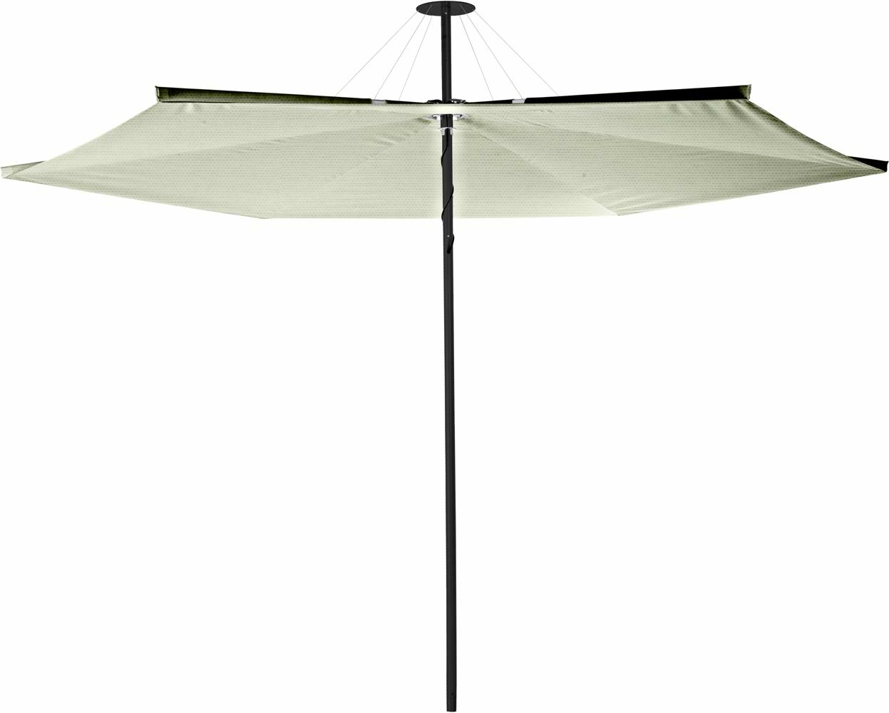 Infina center post umbrella, 3 m round, with frame in Dusk and Solidum Mint canopy.