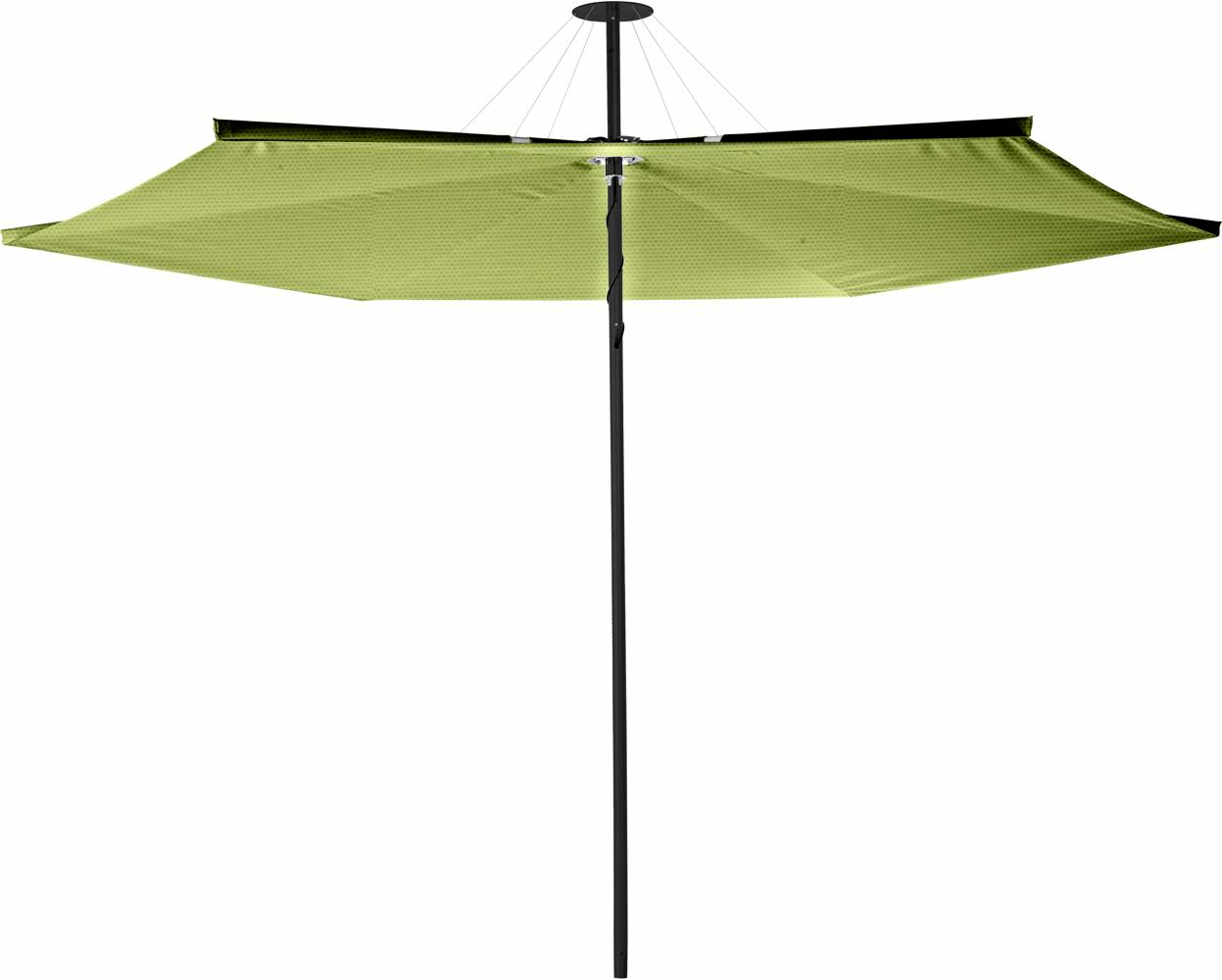 Infina center post umbrella, 3 m round, with frame in Dusk and Solidum Lichen canopy.