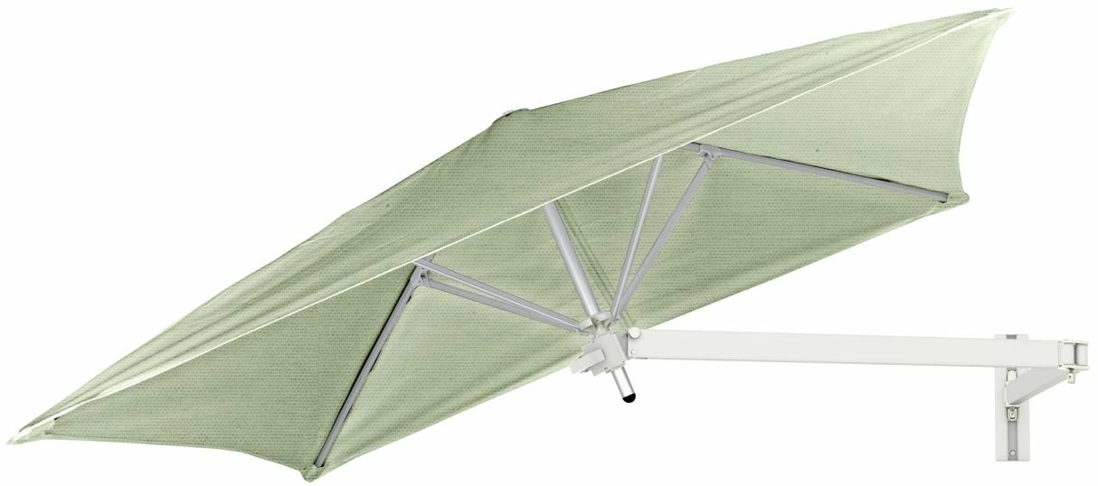 Paraflex wall mounted parasols square 1,9 m with Mint fabric and a Neo arm