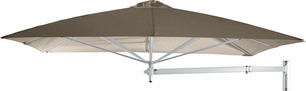 Paraflex wall mounted parasols square 2,3 m with Taupe fabric and a Neo arm