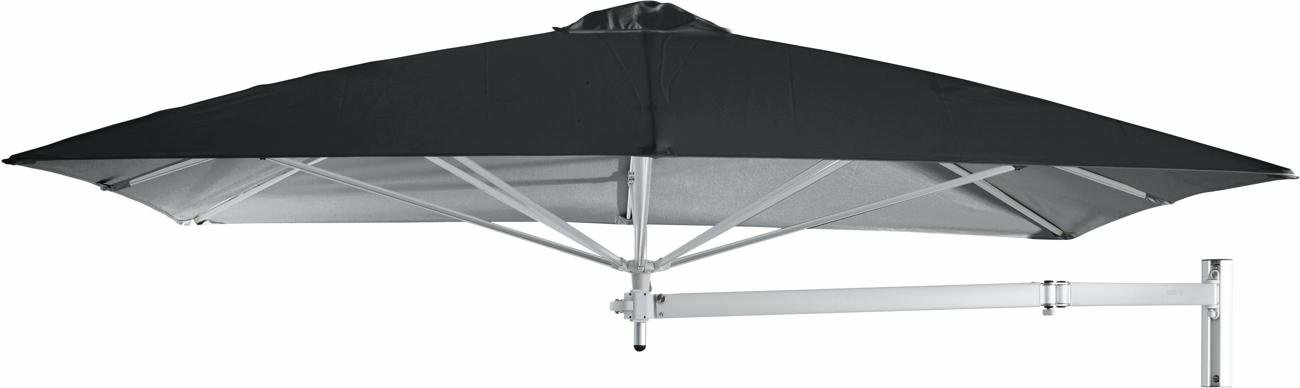 Paraflex wall mounted parasols square 2,3 m with Black fabric and a Neo arm