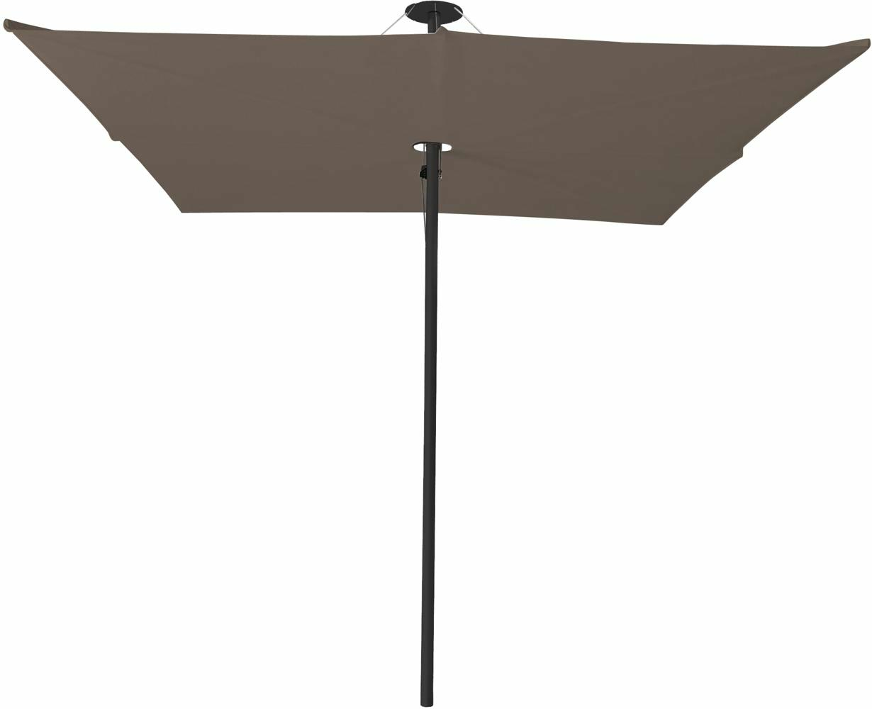 Infina center post umbrella, 2,5 m square, with frame in Dusk and Solidum Taupe canopy.