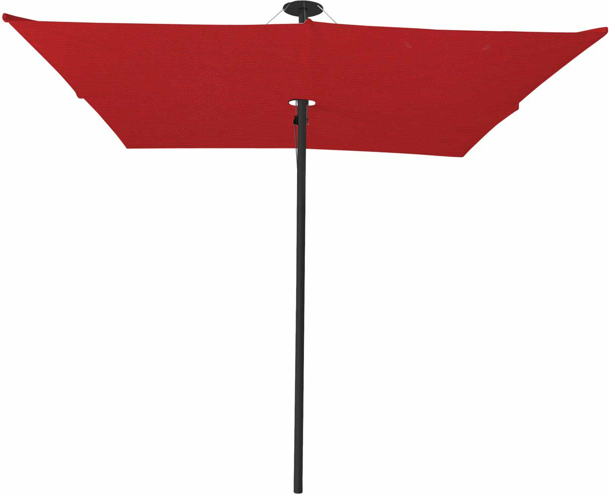 Infina center post umbrella, 2,5 m square, with frame in Dusk and Solidum Pepper canopy.