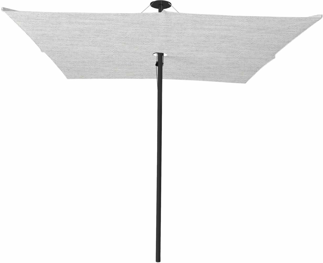 Infina center post umbrella, 2,5 m square, with frame in Dusk and Solidum Marble canopy.