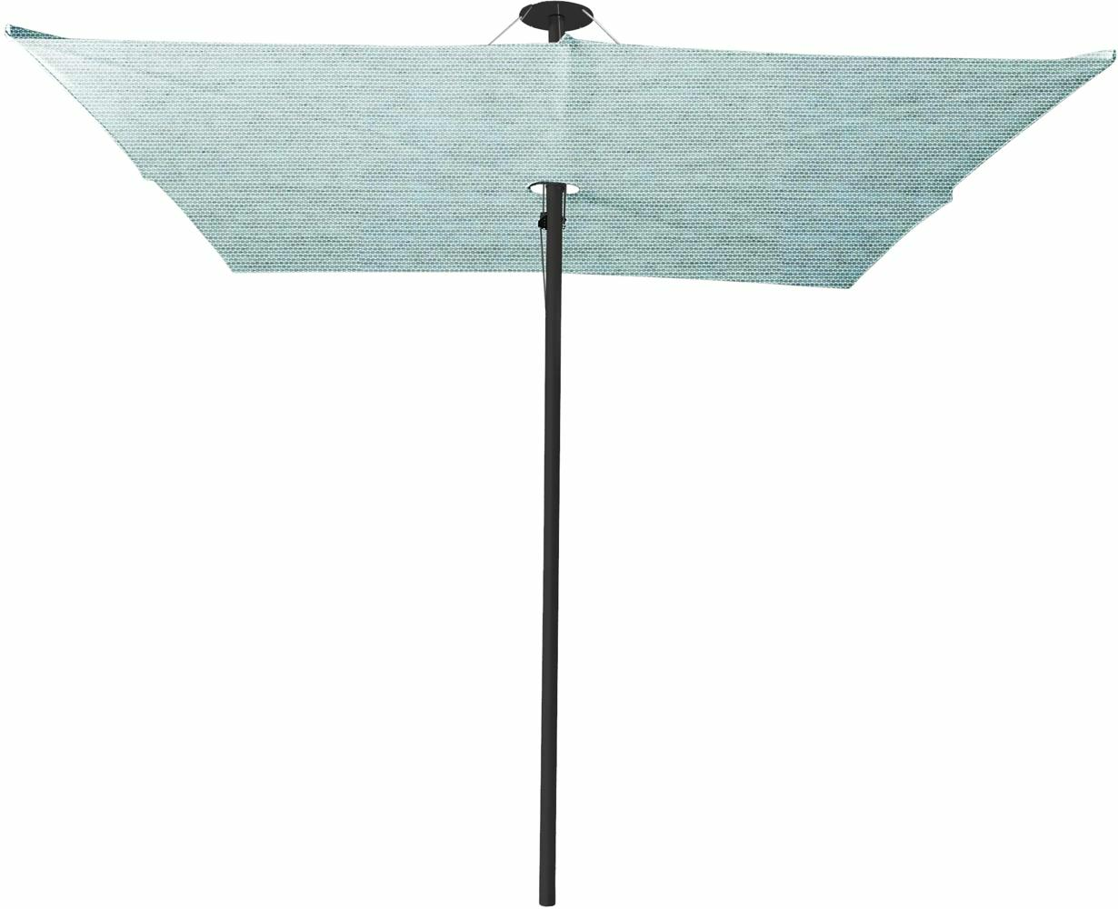 Infina center post umbrella, 2,5 m square, with frame in Dusk and Solidum Curacao canopy.