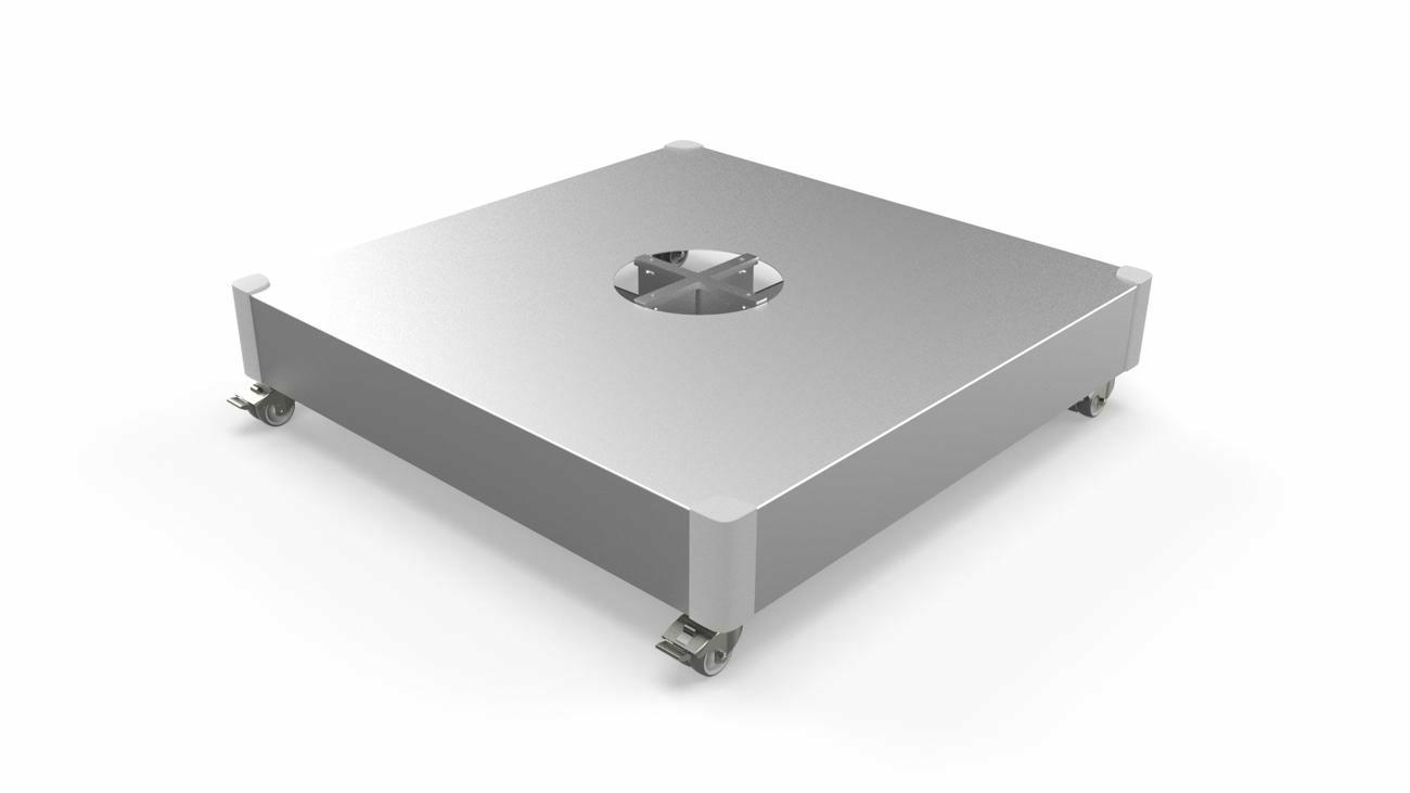 Base à dalles, couvercle en aluminium avec roulettes (dalles pas incluses)