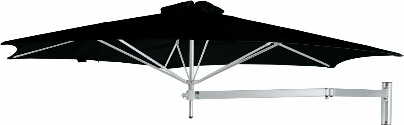 Paraflex wall mounted parasols round 3 m with Black fabric and a Neo arm