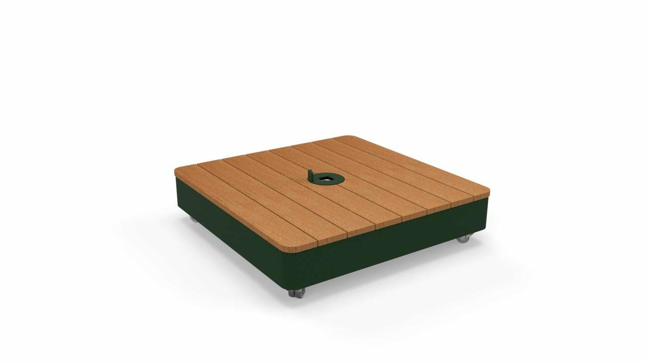 Mobilen Base Nature, Deckel in Holz  (Sipo) - (inkl. Rollen, Fliessen nicht inbegriffen)