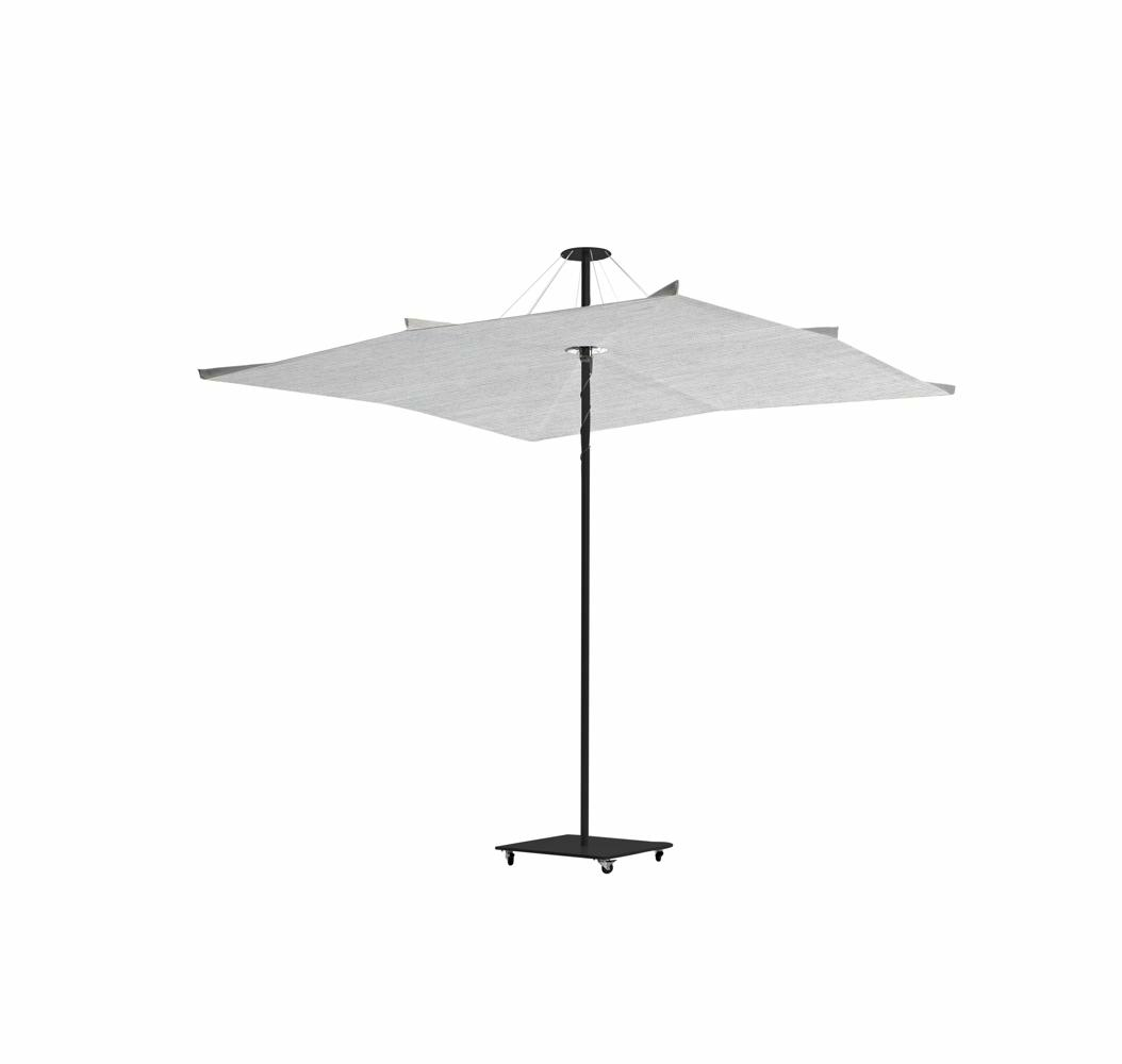 Infina center post umbrella with Dusk frame, canopy in Sunbrella Marble and mobile base also powder coated in Duks.