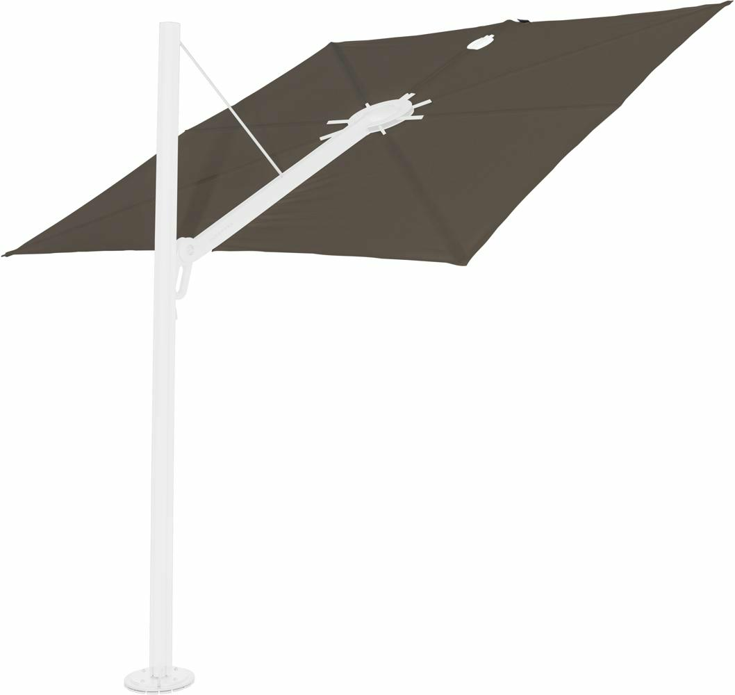 Spectra cantilever umbrella, 2,5 x 2,5 m square, White frame, Taupe fabric