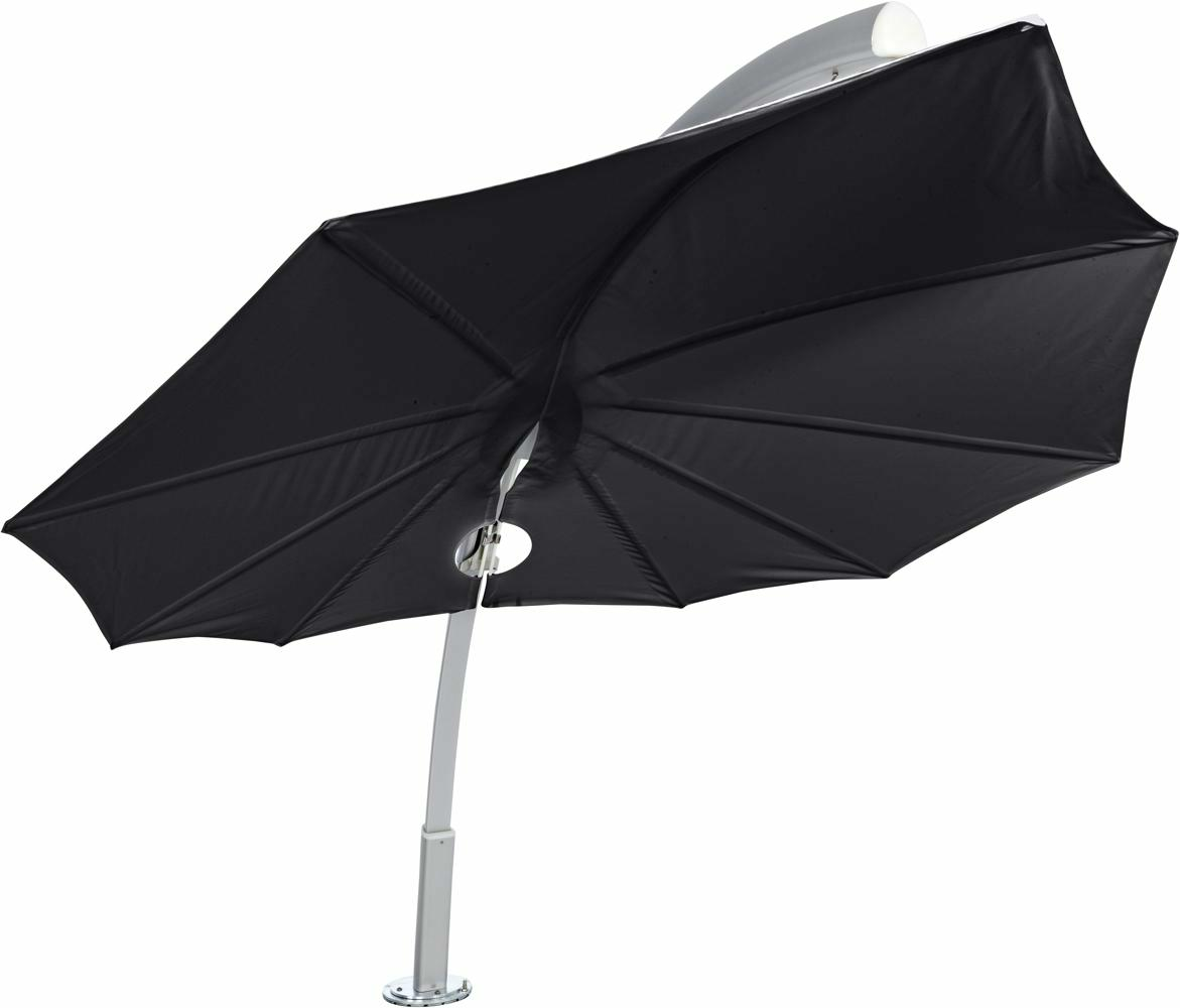 Icarus design umbrella, 3 x 3 m, Aluminum frame, Sunbrella Black fabric