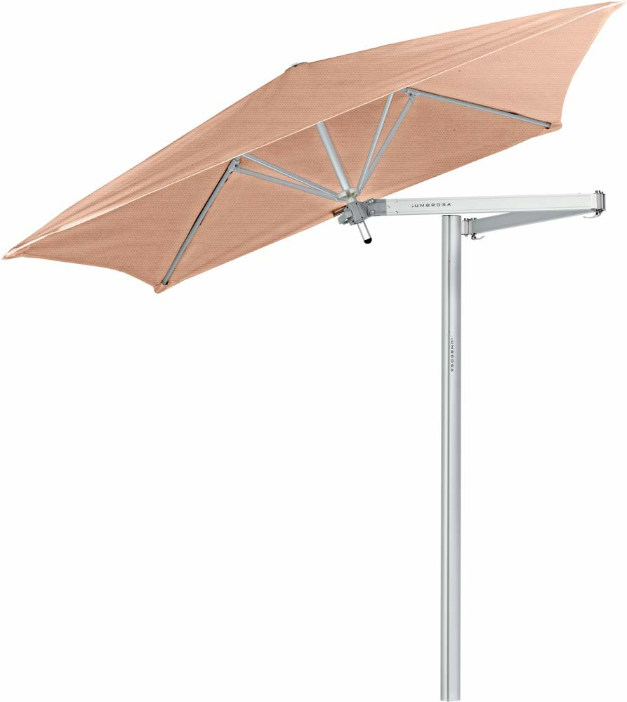 Paraflex cantilever umbrella square 1,9 m with Blush fabric and a Classic arm