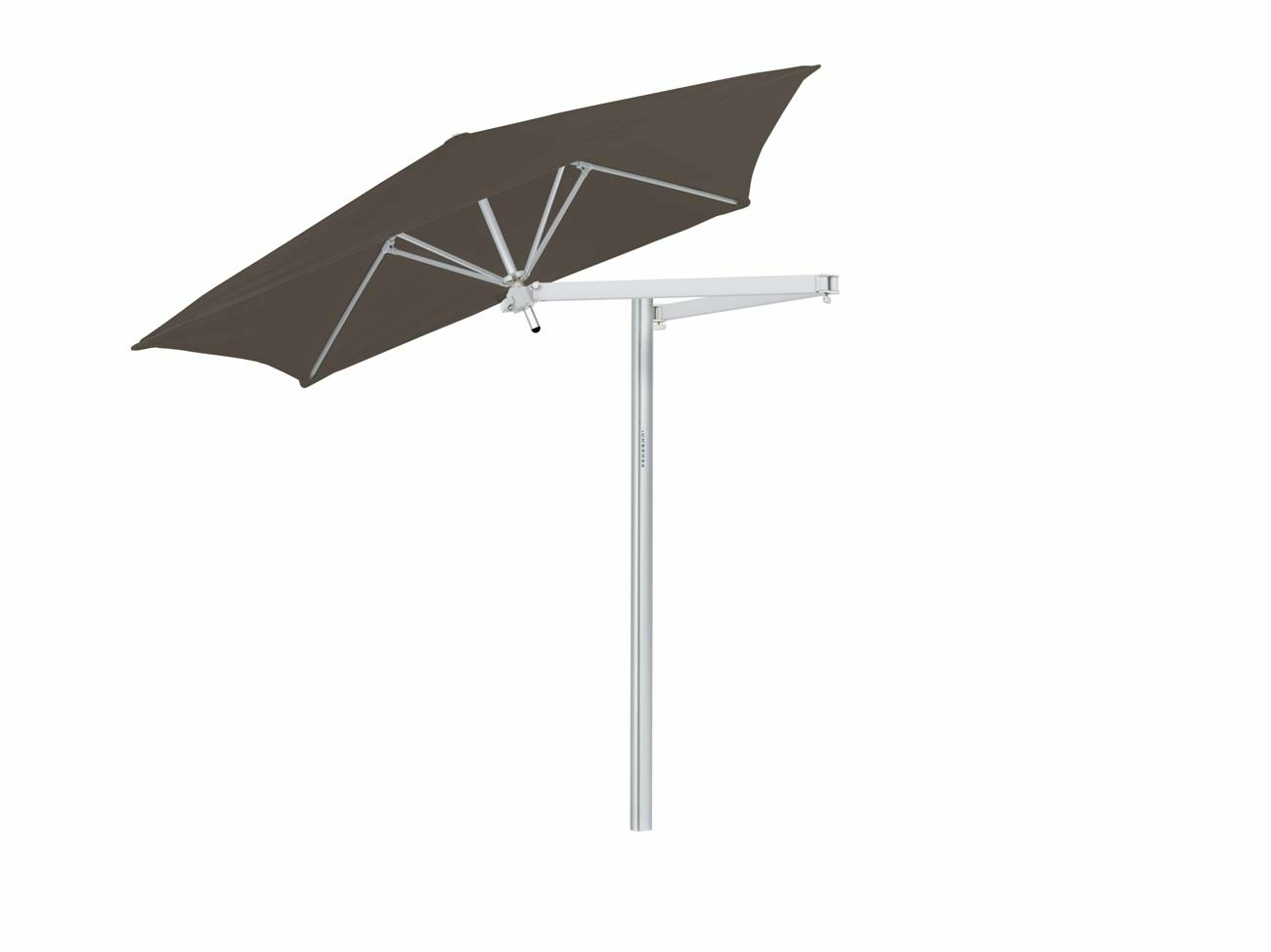 Paraflex cantilever umbrella square 1,9 m with Taupe fabric and a Neo arm