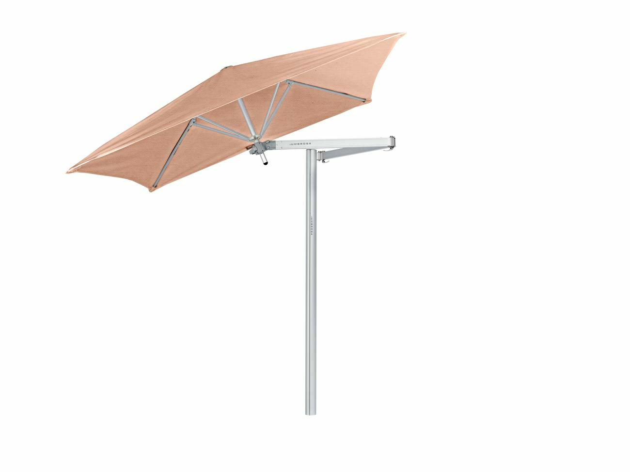 Paraflex cantilever umbrella square 1,9 m with Blush fabric and a Neo arm