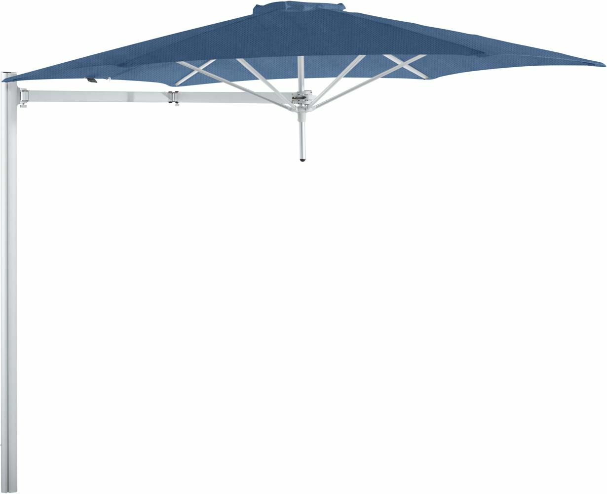 Paraflex cantilever umbrella round 3 m with Blue Storm fabric and a Neo arm